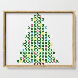 Cross Stitch Christmas Tree Serving Tray