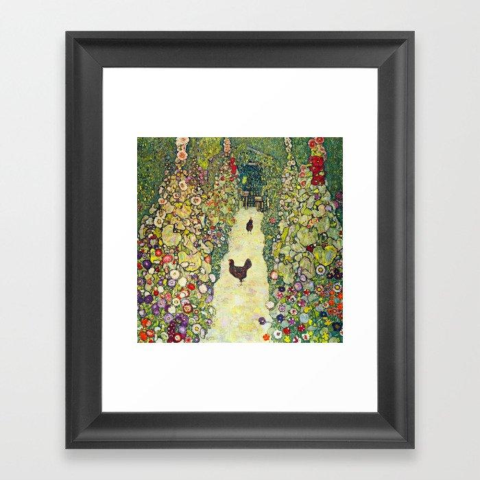 """Gustav Klimt """"Garden Path with Chickens"""" Gerahmter Kunstdruck"""