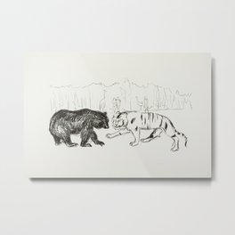 The Tiger and the Bear (ca. 1908–1909) by Edvard Munch. Metal Print