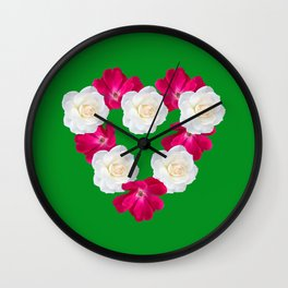 Rose Heart Kelly Green Wall Clock