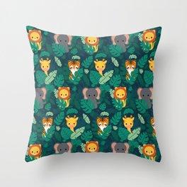 Cute jungle pattern Throw Pillow