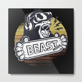 Beast Mode Retro Gaming Metal Print