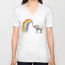 Baby Elephant Spraying Rainbow Unisex V-Ausschnitt