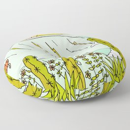 where nature and waves bloom art by surfy birdy Floor Pillow