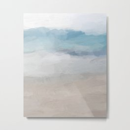 Light Aqua Blue Ocean Shore Waves Horizon Sandy Beige Beach Abstract Nature Ocean Painting Art Print Wall Decor  Metal Print