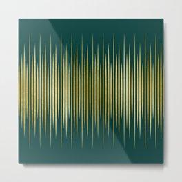 Linear Gold & Emerald Metal Print