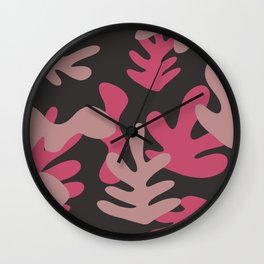 Matisse Inspired Pink Magenta Grey Leaves Leaf Shapes Wall Clock