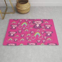 Hot Pink Koalas and Rainbows  Rug