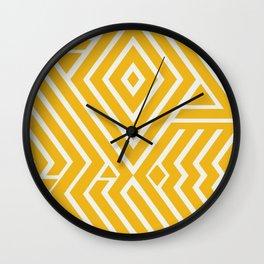 Line art yellow mudcloth Wall Clock