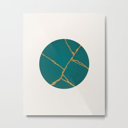 Kintsugi Japanese Minimalist abstract print, Teal & Gold Metal Print