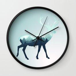 Deer Stag Elk Roe Fawn Moose Double Exposure Surreal Wildlife Animal Wall Clock