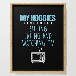 Hobbies Watching Television TV Movie Show Gift Serving Tray