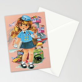 Retro Stewardess Flight Attendant Stationery Cards