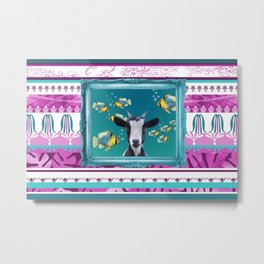 Turquoise Frame - Tropic Fishes & Goat Metal Print