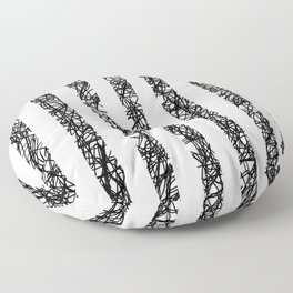 Scribble Bars - Abstract, stripy, stripey, black ink scribbles pattern, black and white Floor Pillow