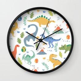 Dinos + Volcanoes Wall Clock