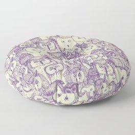 just owls purple cream Floor Pillow