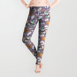 Pigeons Express (Mauve Background) Leggings