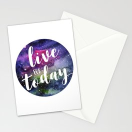 Live for Today Galaxy Typography Watercolor Quote Stationery Cards