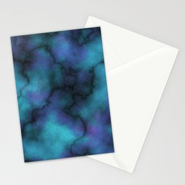 Marble Texture in Night Sky Blue Stationery Cards