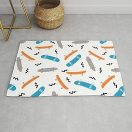 Skateboards orange and blue pattern great decor for nursery kids rooms boys and girls Rug
