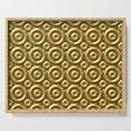 Faux Shiny Gold 3D Abstract Circle Mosaic Pattern Serving Tray