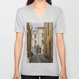 Narrow street in Bordeaux Unisex V-Neck