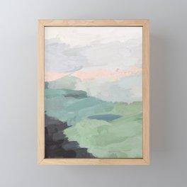 Seafoam Green Mint Black Blush Pink Abstract Nature Land Art Painting Framed Mini Art Print