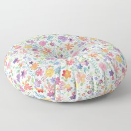 Colorful Whimsical Watercolor Flowers Pattern Floor Pillow