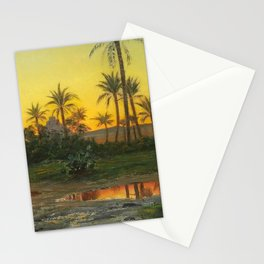 Egyptian Oasis, The Pyramids at Sunset landscape painting by Peder Mork Mønsted Stationery Cards