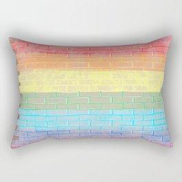 LGBTQ+ Pride Flag Distressed Brick Design Rectangular Pillow