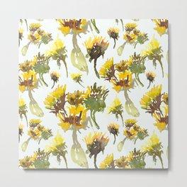 Watercolor yellow gerbera artistic pattern design  Metal Print