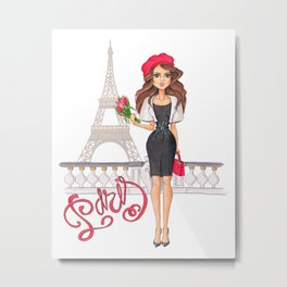 Parisian Girl Hand-Painted Eiffel Tower Fashion Illustration Paris Lettering Metal Print