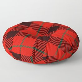 Red Tartan with Black and Green Stripes Floor Pillow
