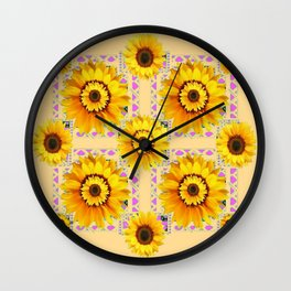 CREAM COLOR WESTERN STYLE YELLOW SUNFLOWERS Wall Clock
