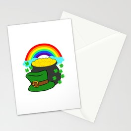 Pot Of Gold Hat And Rainbow Clover St Patricks Day Stationery Cards