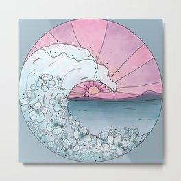 Flower Wave Teal&Pink Metal Print