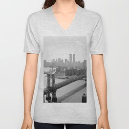 Williamsburg Bridge, East River at South Sixth St. & Twin Towers, New York City skyline photograph Unisex V-Neck