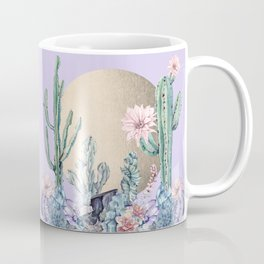 Desert Sun Cactus + Succulents Gold Purple Coffee Mug