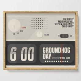 Groundhog Day, Bill Murray, minimalist movie poster, Andie MacDowell, Harold Ramis Serving Tray