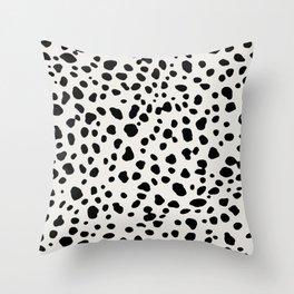Polka Dots Dalmatian Spots Black And White Throw Pillow