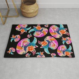pattern with embroidered lilies Rug