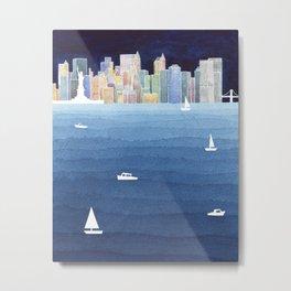 New York City NYC skyline panorama Manhattan Metal Print