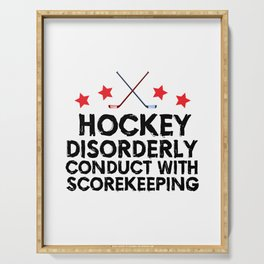 Hockey Disorderly Conduct With Scorekeeping Serving Tray