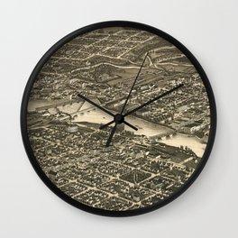 Vintage Map of Rockford Illinois (1880) Wall Clock