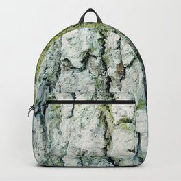 Weathered white bark with green moss Backpack