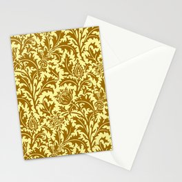 William Morris Thistle Damask in Mustard Gold Stationery Cards