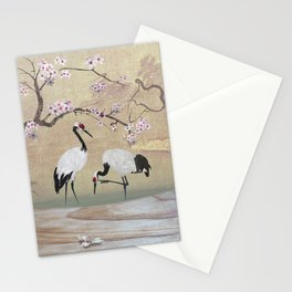 Cranes Under Cherry Tree Stationery Cards