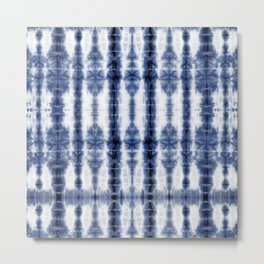 Tiki Shibori Blue Metal Print