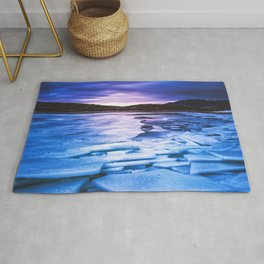 Lake Effect // Frozen Ice Water Sunset Mountain Landscape Photography Pink Purple Blue Clouds Rug